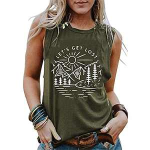 T&Twenties Women Adventure is Calling Shirts Tank Tops Summer Let's Get Lost Graphic Letters Print Tees Shirts