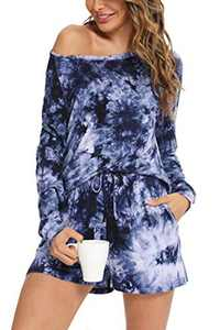 YOZLY Womens Pajama Set Cotton Lounge Sets 2 Piece Sleepwear Long Sleeve Pj Tops with Shorts S-XXL (Tie Dye, Medium)