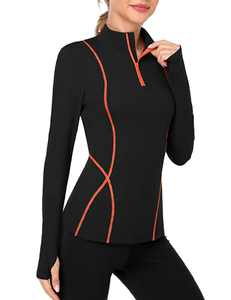 ATTRACO Women's Swim Shirts UPF 50+ Long Sleeves Top Thumb Hole Slim Fitted Workout Pullovers Black Orange