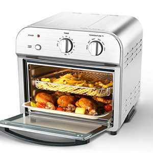 Geek Chef Air Fryer Toaster Oven, 4 Slice 11QT Convection Airfryer Countertop Oven, Roast, Bake, Broil, Reheat, Fry Oil-Free, Cooking Accessories Included, Stainless Steel, Silver (11QT)