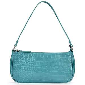 Retro Classic Clutch Shoulder Tote Bag for Women Vegan Leather Croc Pattern Small Purse with Zipper Closure NileBlue