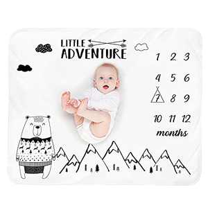 Baby Monthly Milestone Blanket Boy - Bear Mountain Newborn Month Blanket Unisex Neutral Personalized Shower Gifts Baby Stuff Woodland Nursery Decor Photography Background Prop with Marker 51''x40''