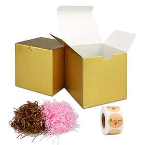 Gold Gift Box With Lid, Thank You Stickers 500pc And Shredded Paper For Gift Box 60g, Gift Boxes With Lids 30pcs 3x3x3 Inches For Festivals, Parties, Packaging for small business Crafting Boxes Set
