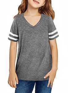 BLENCOT Girl's Basic Striped V Neck Short Sleeve T Shirts Summer Casual Big Kids Tops Blouse Grey 10-11 Years