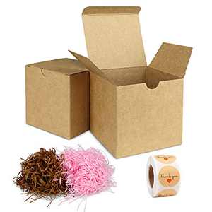Brown Gift Box With Lid, Thank You Stickers 500pc And Shredded Paper For Gift Box 60g, Gift Boxes With Lids 30pcs 3x3x3 Inches For Festivals, Parties, Packaging for small business Crafting Boxes Set