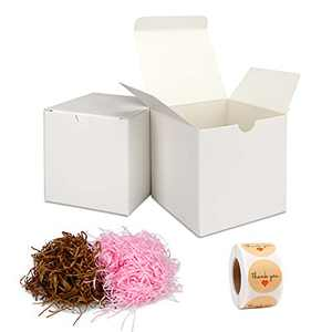 White Gift Box With Lid, Thank You Stickers 500pc And Shredded Paper For Gift Box 60g, Gift Boxes With Lids 30pcs 3x3x3 Inches For Festivals, Parties, Packaging for small business Crafting Boxes Set