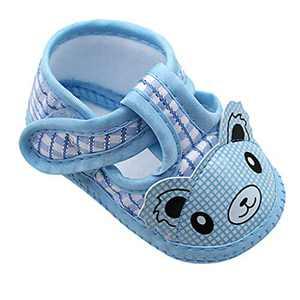 Newborn Baby Girls Cartoon Little Bear Prewalker Soft Sole Sandals Single Shoes (Blue, 6_months)