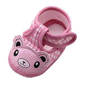 Newborn Baby Girls Cartoon Little Bear Prewalker Soft Sole Sandals Single Shoes (Pink, 6_months)