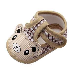 Newborn Baby Girls Cartoon Little Bear Prewalker Soft Sole Sandals Single Shoes (Beige, 6_months)