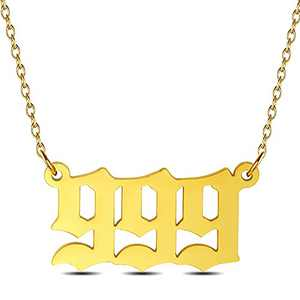 Angel Number Necklace For Women, Gold Plated Dainty 111 222 333 444 555 666 777 888 999 Pendants Choker Chain Numerology Jewelry
