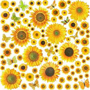 98 Pieces Wall Stickers Sunflower Wall Decals with Butterfly Removable Mural Stickers Wall Decals for Kids Bedroom Living Room Kitchen Bathroom Home Decor