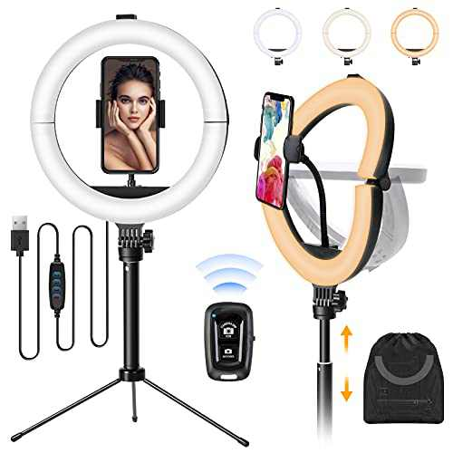 MACTREM Ring Light, 10 inches Foldable Portable Selfie Ring Light with Desk Tripod Stand, for Live Steaming, Facebook, YouTube, TikTok, Video Conferencing