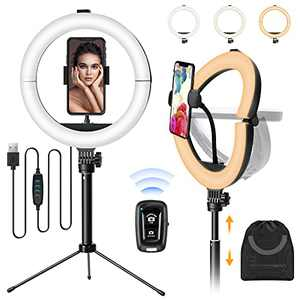 MACTREM Ring Light 10 inch Foldable Portable LED Selfie Ring Lights with Desk Tripod Stand, for Live Steaming, Facebook, YouTube, TikTok, Video Conferencing, Three-Color Adjustable Light