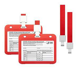 2 Pack CDC Vaccine Card Protector with Lanyard, 4 X 3 Inch Vaccination Cards Holder, Immunization Record ID Card Name Tag Badge Cards Holder(Red)