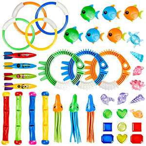liberry Kids Pool Toy, 41PCS Swimming Pool Toys for Kids, Toddlers, Boys and Girls with Diving Sticks, Diving Rings, Fish Toys and Storage Bag, Durable Baby Pool Toys for Swimming and Diving Training