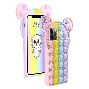 Neeliup for iPhone X/Xs Case - Pop Cute Cartoon Kawaii Funny it Case with Anti-Anxiety Push Bubble Silicone Rubber & Shockproof Protecive for iPhone X/Xs