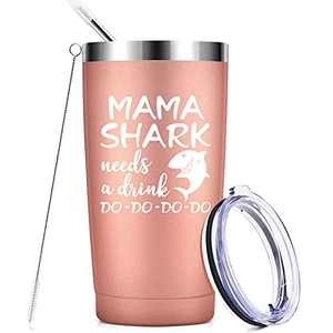 Mama Shark Needs a Drink -Gifts for Mom - Funny Birthday Gifts for Mom - Mothers Day Gifts for Mom from Daughter, Funny Christmas Birthday Gifts Idea for Best Mom, Wife, Mom to be - 20 Oz,Rose Gold