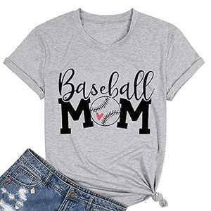 T&Twenties Women Baseball Mom Heart Print Tee Shirt Casual Love Baseball Mom Life Shirt Sleeveless Baseball Muscle Workout Shirt