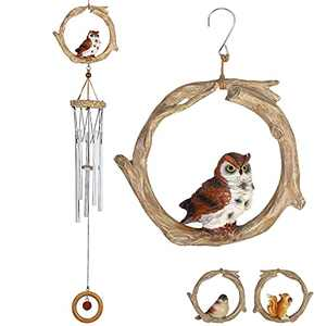Srikingchimes Wind Chimes for Outside Clearance with Unique Resin Sculpture and 5 Metal Tubes, Outdoor Windchimes for Yard and Garden for Those Who Love Nature (Owl)