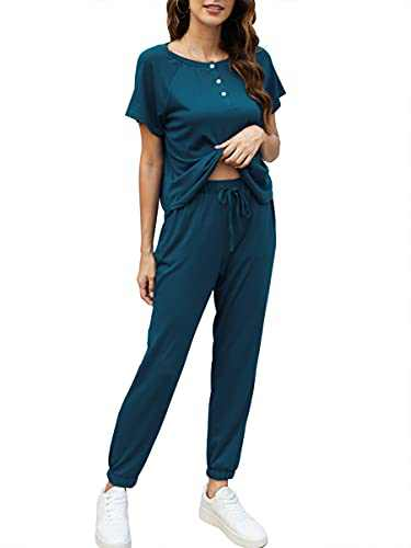 ANRABESS Womens Loungewear Sets 2 Piece Lounge Sets for Women Sweatsuits Pajamas Sets with Jogger Sweatpants Sets A366-shuilan-M