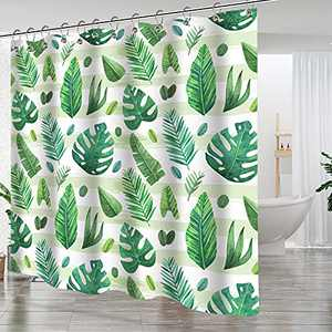 VINIKE Shower Curtains for Bathroom - Green Leaves Plant on White Background Shower Curtain Set for Bathroom Showers and Bathtubs, 72 x 72 inches Long, Hooks Included