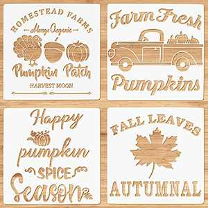 """12x12"""" Fall Stencils for Painting on Wood, Large Reusable Fall Stencils for Painting on Wood Crafts Autumn Harvest Thanksgiving Signs Stencils, Pumpkins Maple Leaves Farmhouse DIY Painting"""