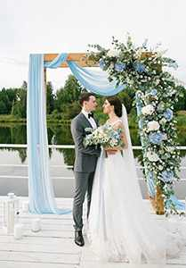Wedding Arch Draping Fabric 2 Panel White and Light Blue 6 Yards Chiffon Fabric Drapery for Party Ceremony Sheer Backdrop Curtains Decorations