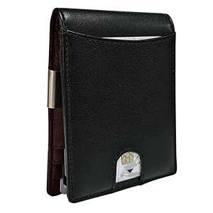 HANJUN Genuine Leather Mens Wallet with Money Cilp Slim Minimalist Front Pocket Wallet | Functional Compact Extra Thin Credit Card Holder | Mini Bifold | Capacity Up To 7 Cards, Black & Brown
