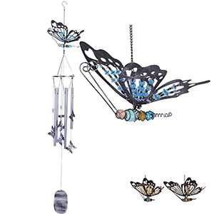Srikingchimes Butterfly Wind Chimes for Outside, Unique Windchimes Outdoor Clearance Metal Memorial Deep Tone Wind Chimes 48in for Yard Garden Patio Gifts (Blue)