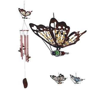Srikingchimes Butterfly Wind Chimes for Outside, Unique Windchimes Outdoor Clearance Metal Memorial Deep Tone Wind Chimes 48in for Yard Garden Patio Gifts (Red)