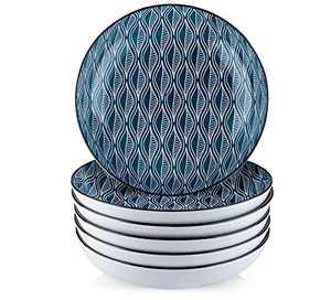 Venlles Salad Bowls 30 Ounces - Ceramic Pasta Salad Bowl, Vintage Dinner Bowls or Plates Set for Pasta Salad, Wide and Shallow Striped Bowls, Microwave and Dishwasher Safe, Set of 6, Blue