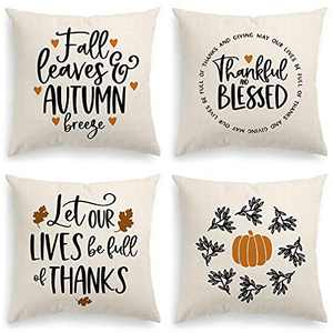 INSHERE Square 18x18 Inches Fall Pumpkin Decorative Pillowcases Pack of 4 Autumn Thanksgiving Throw Cushion Cover with Zipper for Bedroom Living Room Sofa Home Decor… (Fall 5)