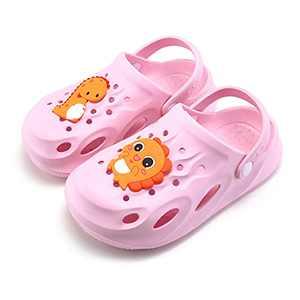 UBFEN Kids Clogs Garden Shoes Shower Pool Beach Sandals Dinosaur Non-Slip Lightweight Slide Pink Big Kid 2.5-3.5