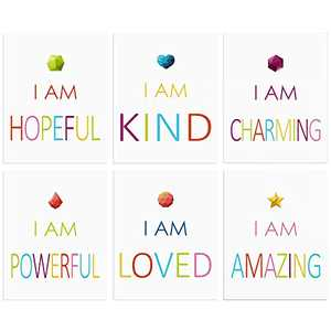 """Colorful Inspirational Quote & Diamond Sign Design Print Set of 6, Motivational Saying Phrases Wall Art Poster Decor For Nursery or Kids, Bedroom/ Classroom/ Living Room Decorations (8""""X10"""", No FRAME)"""