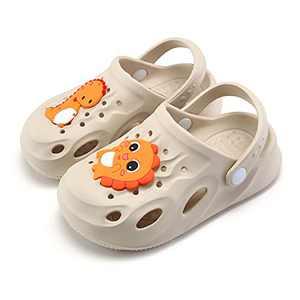 UBFEN Kids Clogs Garden Shoes Shower Pool Beach Sandals Dinosaur Non-Slip Lightweight Slide Beige Big Kid 2.5-3.5