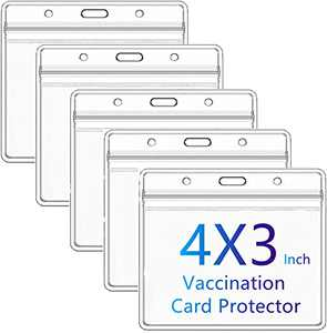 CDC Vaccination Card Protector 4 X 3 inch Immunization Record Vaccine Horizontal ID Card Name Tag Badge Cards Holder Clear Vinyl Plastic Sleeve with Waterproof Type Resealable Zip (5)