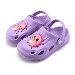 UBFEN Kids Garden Clogs Shower Pool Beach Sandals Dinosaur Slide Sandals Purple Big Kid 2.5-3.5