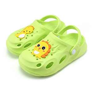 UBFEN Kids Garden Clogs Shower Pool Beach Sandals Dinosaur Slide Sandals Green Big Kid 2.5-3.5