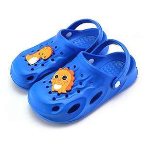 UBFEN Kids Clogs Garden Shoes Shower Pool Beach Sandals Dinosaur Non-Slip Lightweight Slide Blue Toddler 9-10