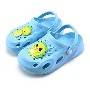 UBFEN Kids Garden Clogs Shower Pool Beach Sandals Dinosaur Slide Sandals Light Blue Big Kid 1-2