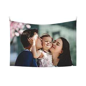 Custom Tapestry Personalized Design tapestry Customized Gifts Photos Collage Room Decor Birthday Fathers Mothers Day Gifts 60x40 Horizontal(1 photo)
