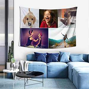 Custom Tapestry Personalized Design tapestry Customized Gifts Photos Collage Room Decor Birthday Fathers Mothers Day Gifts 90x60 Horizontal(5 photos)