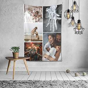 Custom Tapestry Personalized Design tapestry Customized Gifts Photos Collage Room Decor Birthday Fathers Mothers Day Gifts 80x60 Vertical(5 photos)