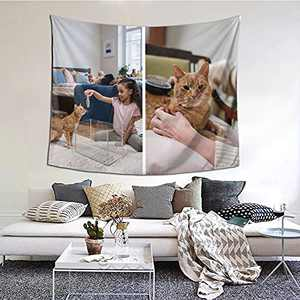 Personalized Custom Tapestry Customize Tapestries Upload Images Backdrop Tapestrys Wall Hanging Decor With Picture for Wedding Family Memorial Gift Horizontal-Picture 2