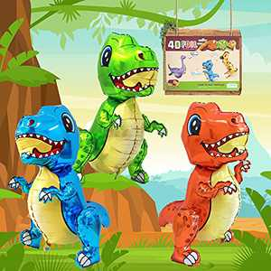 Eanjia 3D Foil Dinosaur Balloon 3pcs Standing Dinosaur Balloons Cartoon Baby Dinosaur Birthday Party Supplies Dinosaur Themed Jungle Party Baby Shower Garland Kit Decorations