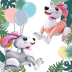 Eanjia 3D Foil Animal Balloon 2pcs Standing Bunny Balloon Cartoon Rabbit Birthday Party Supplies Jungle Themed Party Baby Shower Safari Party Decor Bunny Kids Toys Easter Decorations
