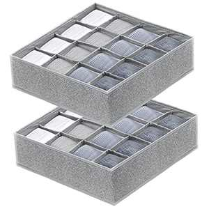 YXNBIIN Socks Drawer Organizers, 2 Pack Underwear Drawer Organizer Divider Collapsible Fabric 16 Cell Storage Box Closet Organizer for Socks, Liner,Ties,Scarf, Belts