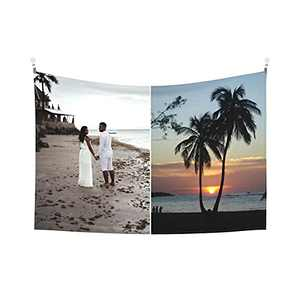 Custom Tapestry Personalized Design tapestry Customized Gifts Photos Collage Room Decor Birthday Fathers Mothers Day Gifts 60x51 Horizontal(2 photos)