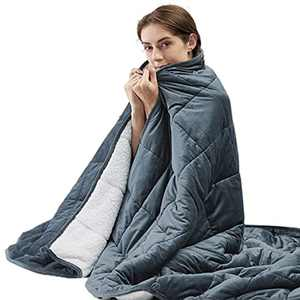 Bedsure Sherpa Weighted Anxiety Blanket - 8 KG Heavy Blanket Cover for Adult, Grey, Double Size, 150x200cm