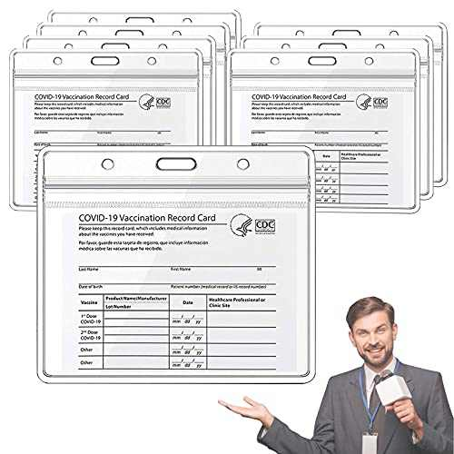 8 Pack Card Protector 4 X 3 Inches Immunization Record Cards Cover Holder Clear Vinyl Plastic Sleeve with Waterproof Type Resealable Zip